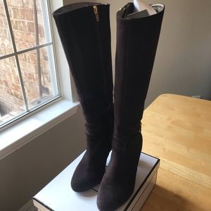 Talbots tall brown suede leather boots, size 6